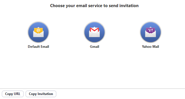 Email invitation using default email, Gmail, Yahoo Mail and copying the invitation