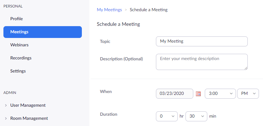 Schedule a Meeting settings including topic and date