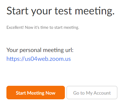 Start your test meeting screen with personal meeting URL