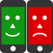 Happy and sad mobile faces