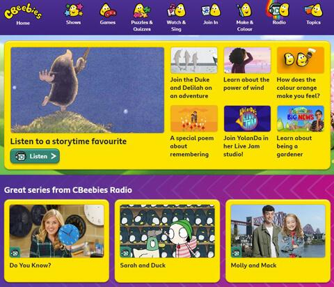 Cbeebies Radio website