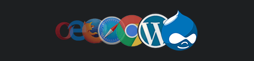 Set of fading icons for CMS and browsers